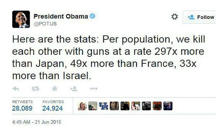 Obama tweet «Aux US nous nous tuons les uns les autres 49 fois plus que la France, 33 fois plus qu'en Israël»