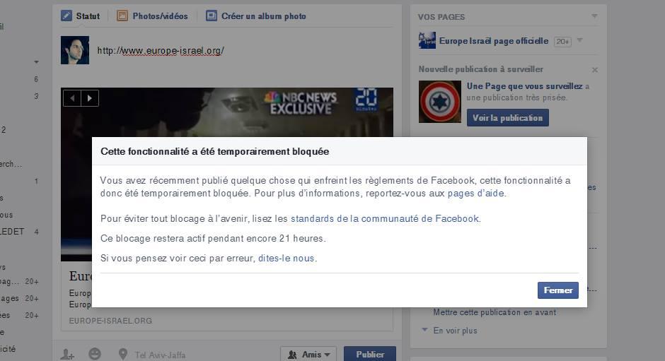 Facebook bloque les publications d'Europe Israël suite à l'article sur Amiraa Jumma