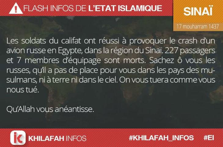 Crash en Egypte: L'Etat islamique en Egypte affirme avoir abattu l'avion russe. Israël participe aux recherches