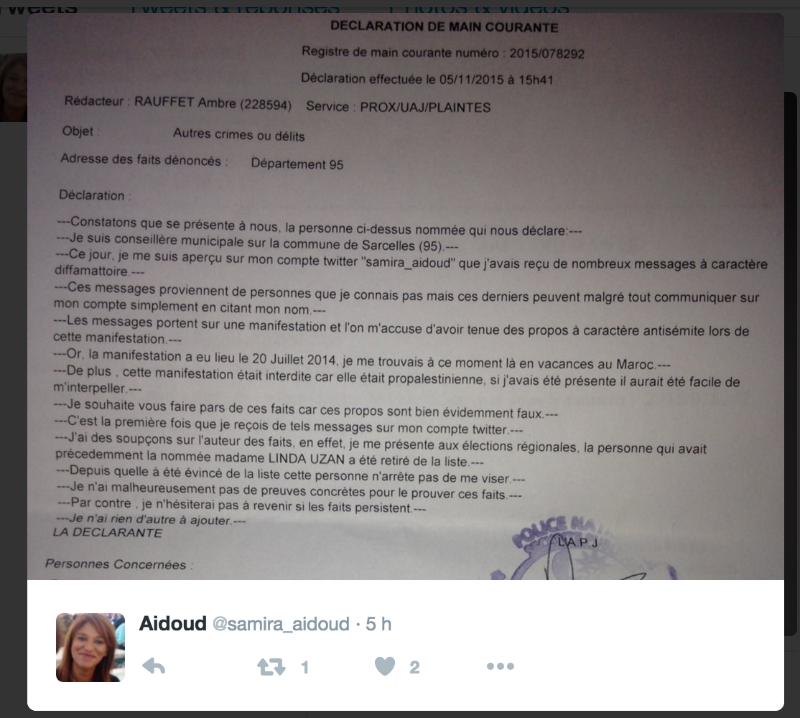 copie écran Twitter Samira Aidoud