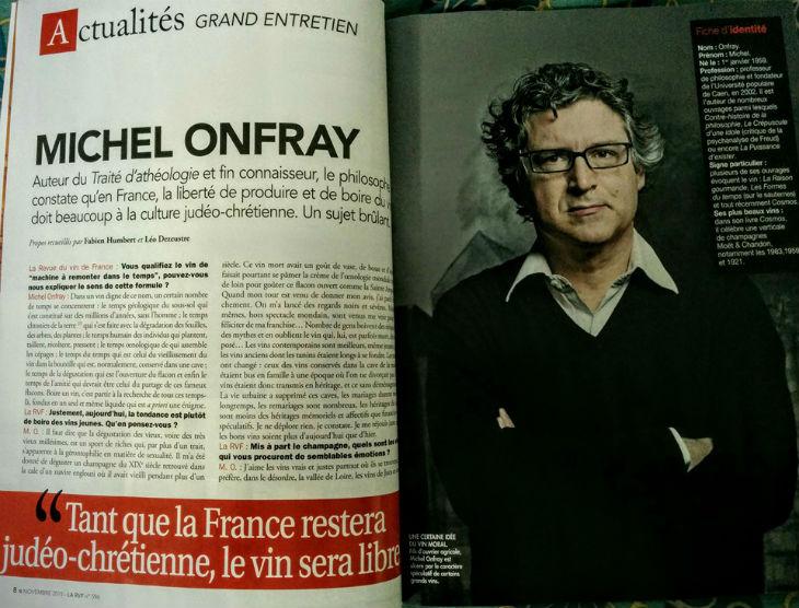 Michel Onfray : « tant que la France restera judéo-chrétienne, le vin sera libre »