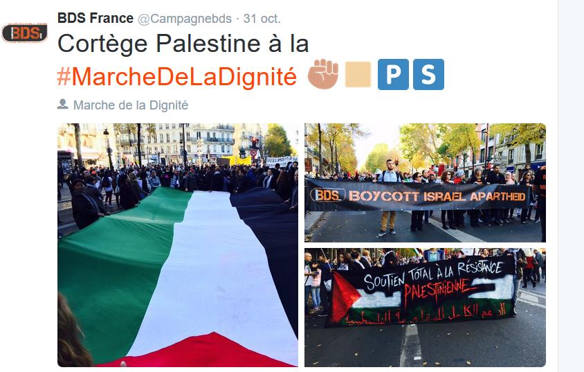Marche de la Dignité; Appel au boycott israel BDS