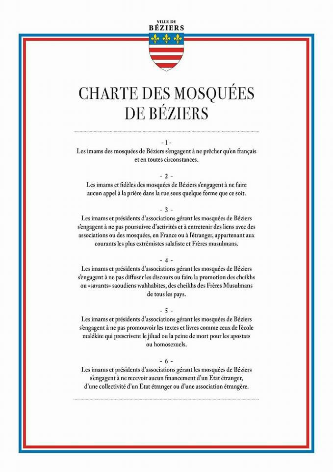charte des mosquées Béziers