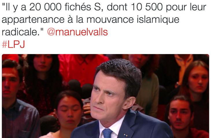 Manuel Valls évoque désormais 20.000 personnes fichées S en France dont 10500 concernant la «mouvance islamique»