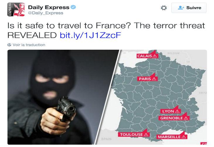 Après les attentats de Paris, le Daily Express pointe sept villes sur liste noire « No-Go Zones » en France