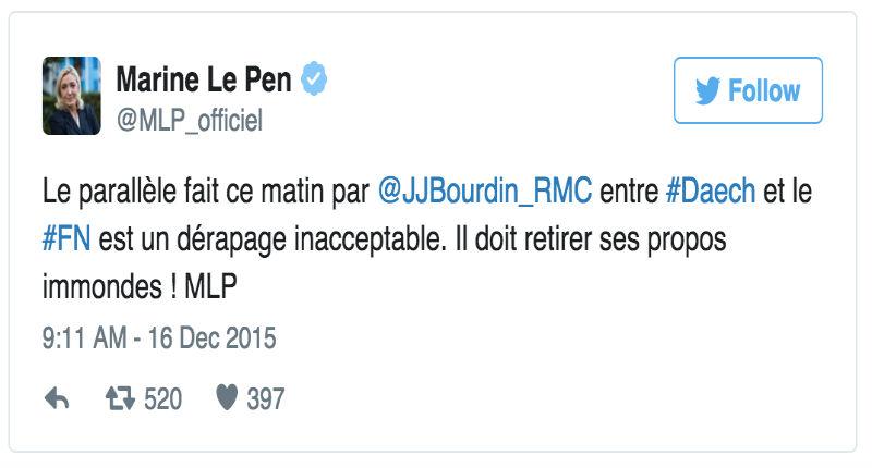 Marine Le Pen diffuse des images sanglantes d'exécutions de l'Etat islamique pour protester contre Jean-Jacques Bourdin