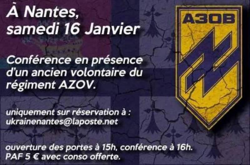 La ville socialiste de Nantes accueillera en janvier, une conférence néonazie avec un criminel de guerre du régiment Azov