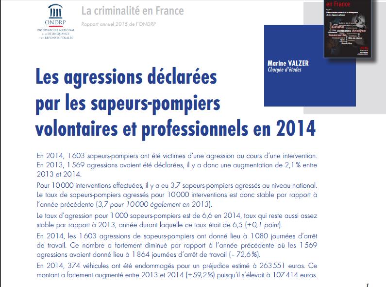 1603 agressions de sapeurspompiers ont eu lieu en 2014