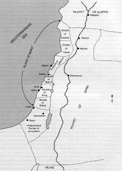 Carte des divisions administratives de la région sous domination ottomane