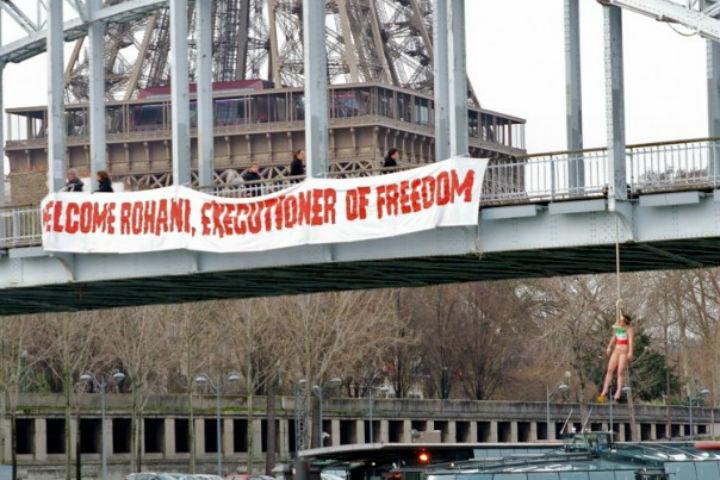 Paris : Les Femen organisent une « pendaison publique » pour la venue du président iranien Rohani