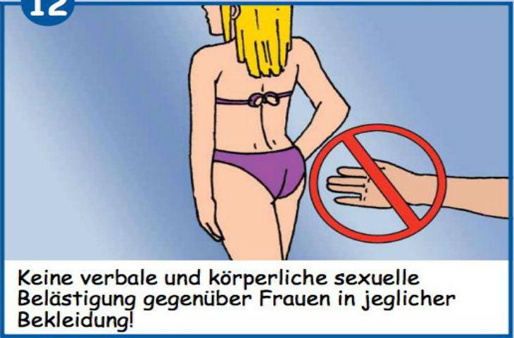 Affiches pour apprendre les bonnes manières aux migrants dans les piscines en Allemagne et Autriche