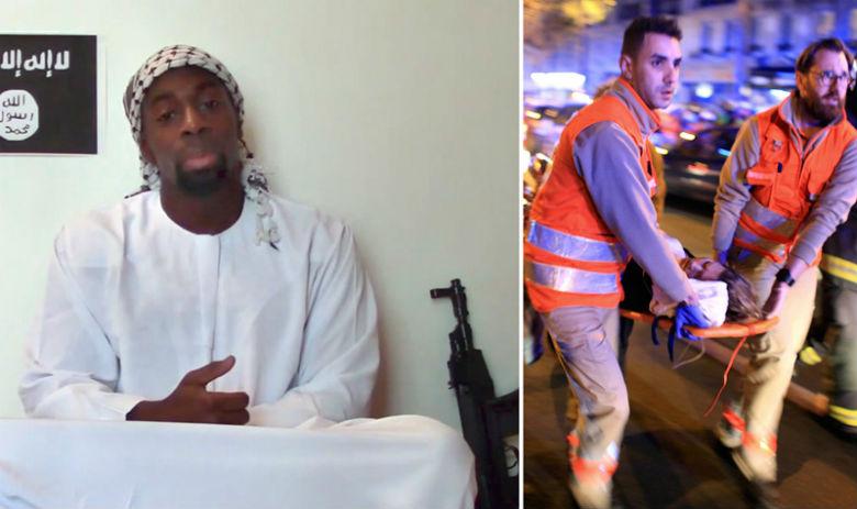 En Janvier 2015, Amedy Coulibaly (gauche) a tué un policier et quatre Juifs avant d'être lui-même abattu par la police. A droite : des infirmiers transportent la victime d'une attaque terroriste qui a eu lieu le 13 novembre, à Paris, contre le Bataclan, une salle de spectacles ou 90 personnes ont perdu la vie.