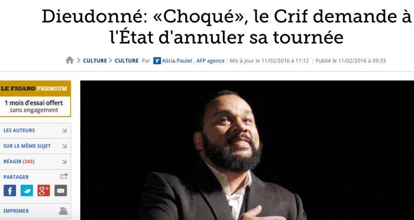 Au Figaro, les modérateurs complices des fans antisémites de Dieudonné mais censurent ceux qui les contredisent