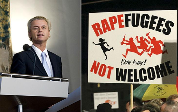 Geert Wilders : « Taharrush est la pratique d'encerclement de femmes par un groupe d'homme qui se livrent sur elles à des sévices sexuels, des attouchements, des viols. Une culture qui dispose d'un mot spécifique pour désigner des agressions sexuelles de femmes par des groupes d'hommes est un danger pour toutes les femmes. » Photo de droite : ce mois-ci, plusieurs manifestations publiques ont eu lieu en Allemagne à la suite des multiples agressions sexuelles qui se sont produites la nuit de la Saint-Sylvestre à Cologne et dans plusieurs autres villes.