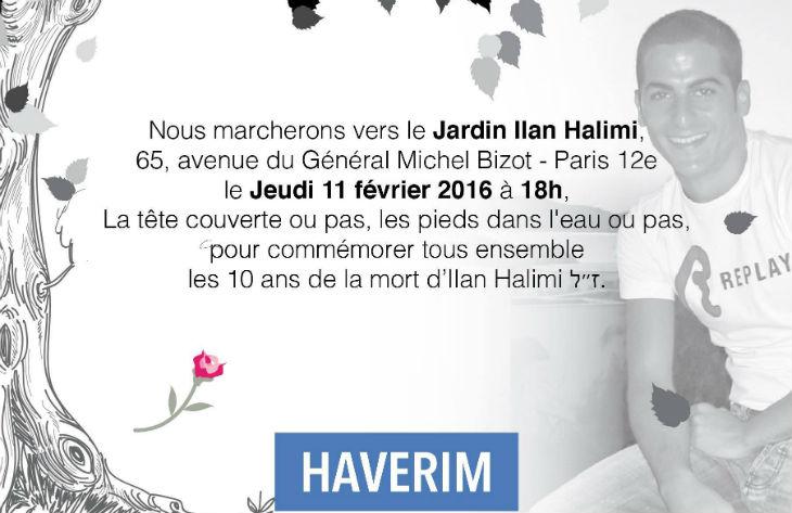 Hommage à Ilan Halimi pour le dixième anniversaire le jeudi 11 février, marchons tous pour Ilan jusqu'au Jardin Ilan Halimi