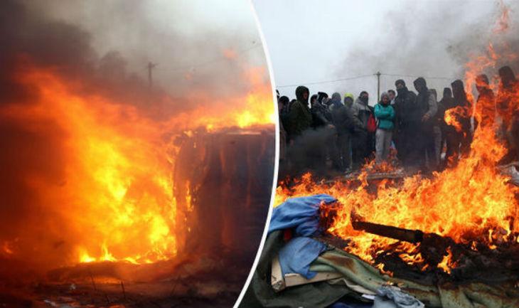 Calais : les gauchistes mettent le feu aux baraques et tentent de faire accuser la police