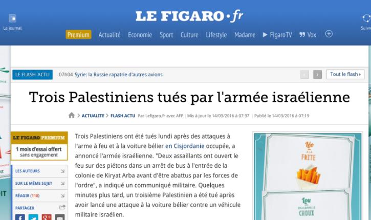 Le Figaro complice de la haine d'Israël