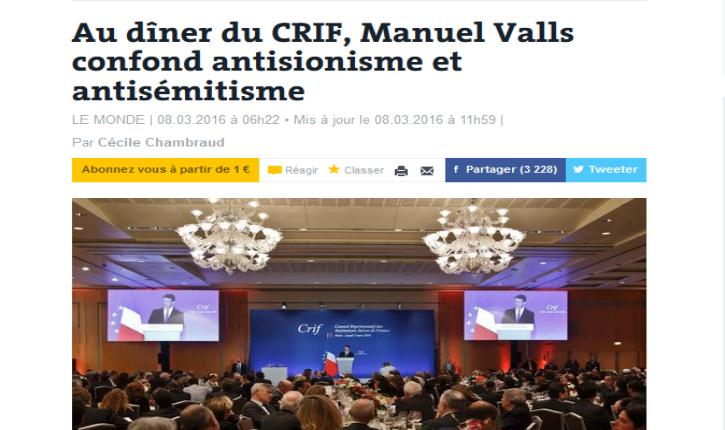 Antisionisme/antisémitisme : Le journal Le Monde falsifie les propos de Manuel Valls