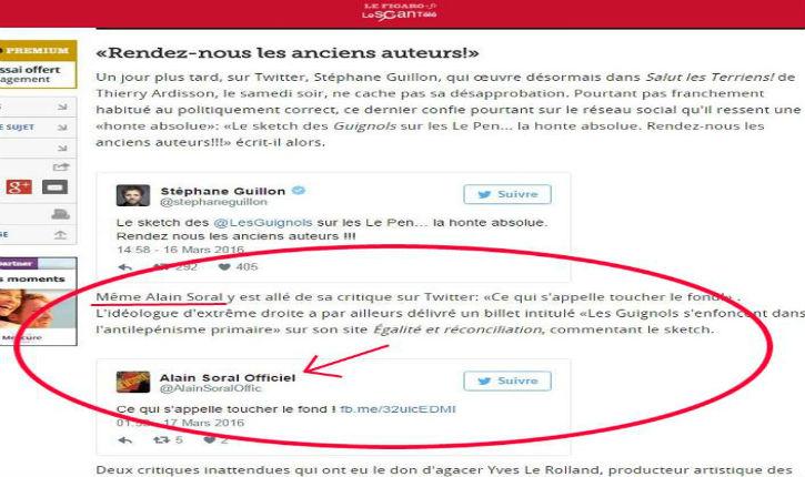 Un article du Figaro cite insidieusement le point de vue d'Alain Soral…