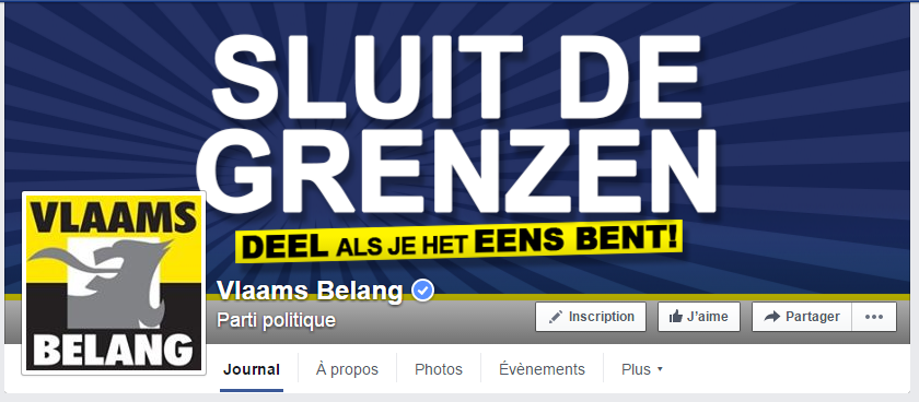 Capture d'écran Facebook Vlaams Belang