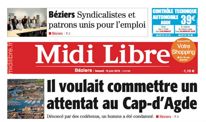 Seulement 6 mois de prison pour fomenter une attaque terroriste au Cap d'Agde !