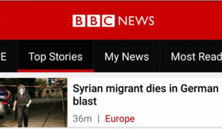 Désinformation: BBC et Reuters titrent à propos du kamikaze islamiste «Un migrant syrien tué dans une explosion allemande»