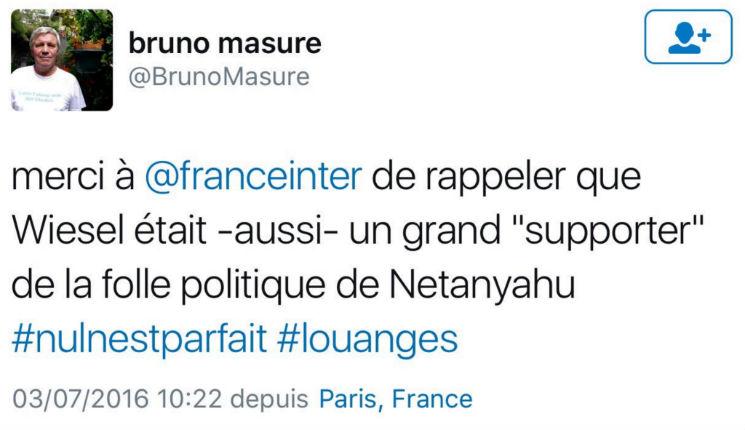 Bruno Masure anti-sioniste primaire : il crache sur la mémoire d'Elie Wiesel à propos de son soutien à Israël