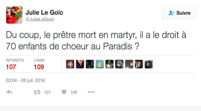 Saint-Etienne du Rouvray : Julie Le Goïc, élue de gauche à Brest, se moque de la mort du père Hamel