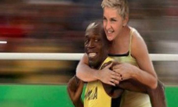 Ellen DeGeneres taxée de racisme pour un montage d'elle sur le dos d'Usain Bolt