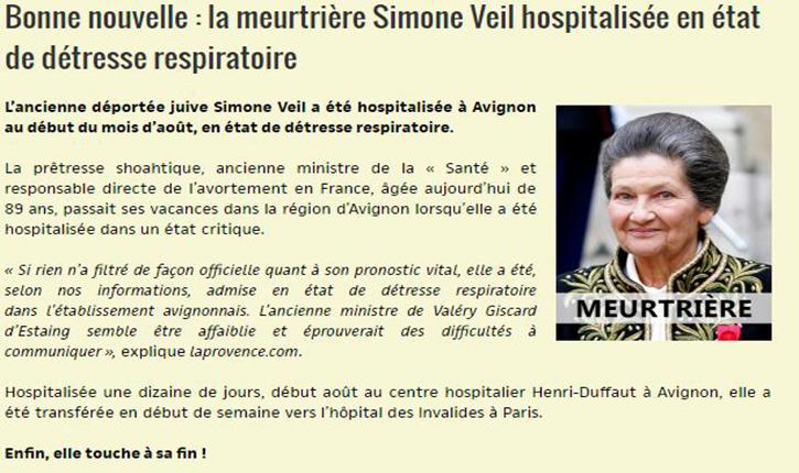 Un site d'extrême droite se réjouit de l'état de santé de Simone Veil