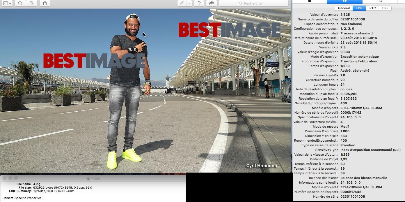 Selon les métadonnées, le photographe du coup BurkiNice se retrouve avec Cyril Hanouna le lendemain à l'aéroport de Nice à destination de Paris. (c)Bestimage