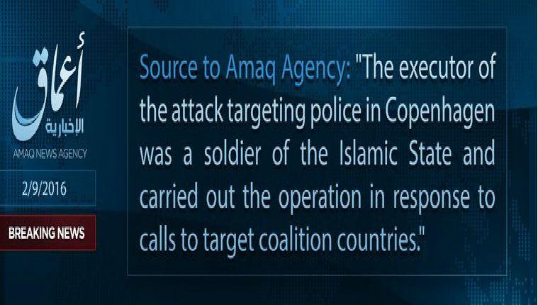 L'Etat islamique revendique l'attentat de Copenhague qui a fait trois blessés