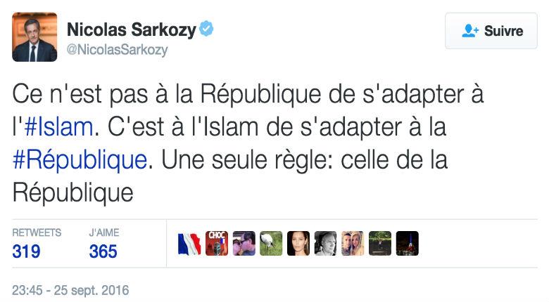 [Vidéo] Sarkozy : «On ne peut pas garder 29% d'une communauté qui se trouvent tentés par la charia»