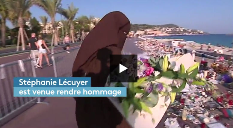 [Vidéo] Nice : Quand France Info monte une immonde provocation pour promouvoirune femme enniqab, pourtant interdit, sur les lieux de l'attentat au nom du «vivre ensemble»
