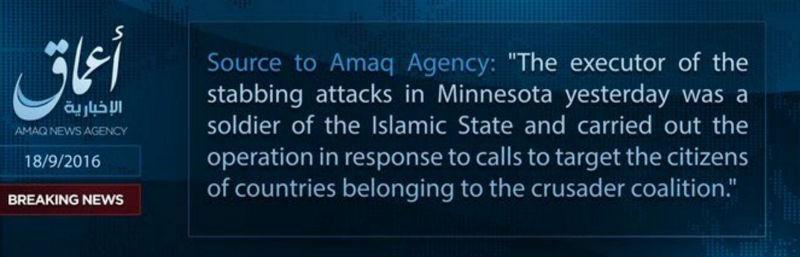 revendication Daesh Minesota