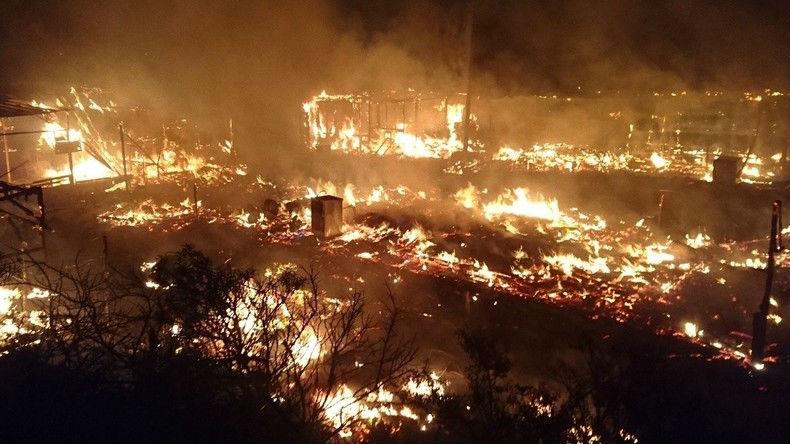 [Vidéo] A l'issue du deuxième jour d'évacuation, un énorme incendie ravage la «Jungle»