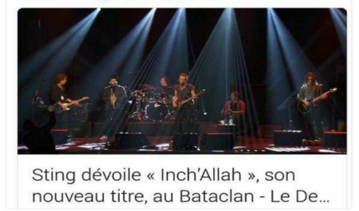 Bataclan : Sting chante une chanson pro-migrants, « Inch'Allah »