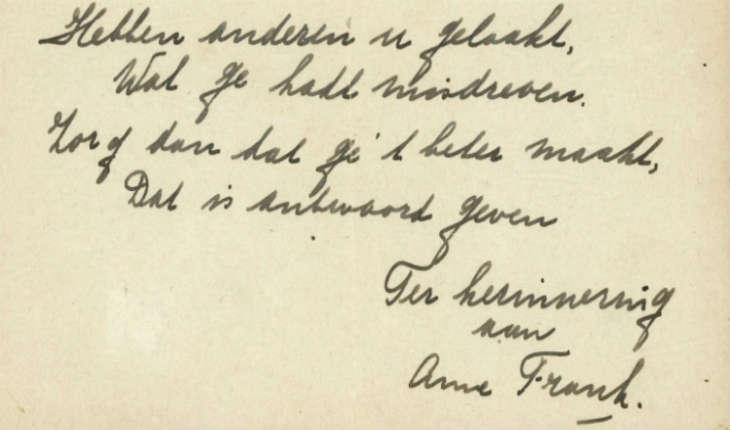 Un poème manuscrit d'Anne Frank, une pièce très «rare», en vente aux enchères