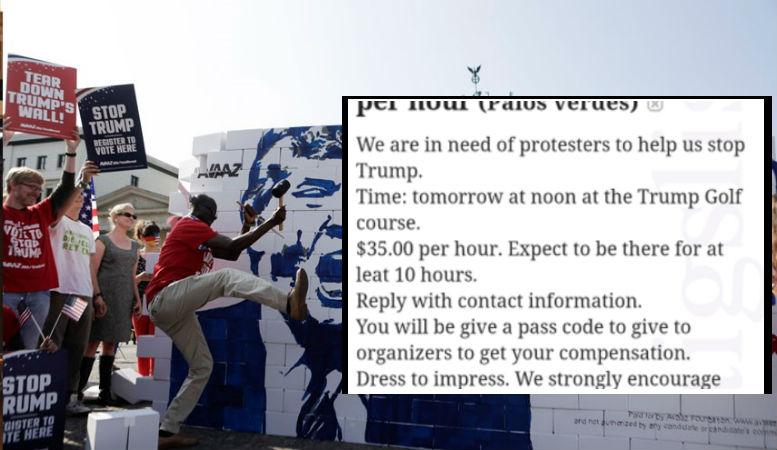 Job à pourvoir 35$ de l'heure pour «manifester contre Donald Trump», les manifestants anti-Trump recrutés et payés par Soros