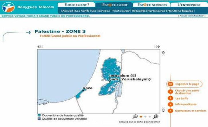 Révisionnisme : pour Bouygues Télécom Netanya est une ville palestinienne