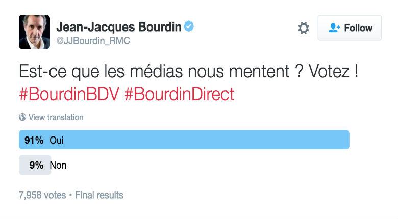 Sondage chez Bourdin : 91% des personnes pensent que les médias mentent…