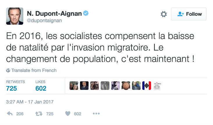 Dupont-Aignan dénonce « l'invasion migratoire » voulue par le PS, ainsi que le « changement de population »