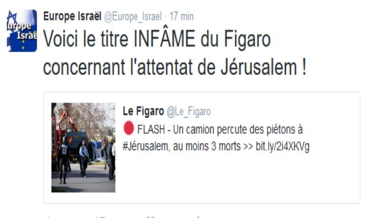 Attentat à Jérusalem : le titre INFÂME du Figaro