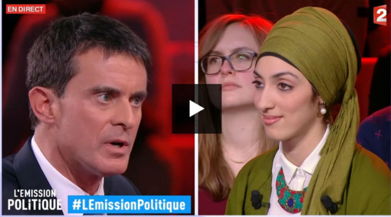 Quand Pujadas et Salamé piègent Manuel Valls avec une vraie militante islamiste