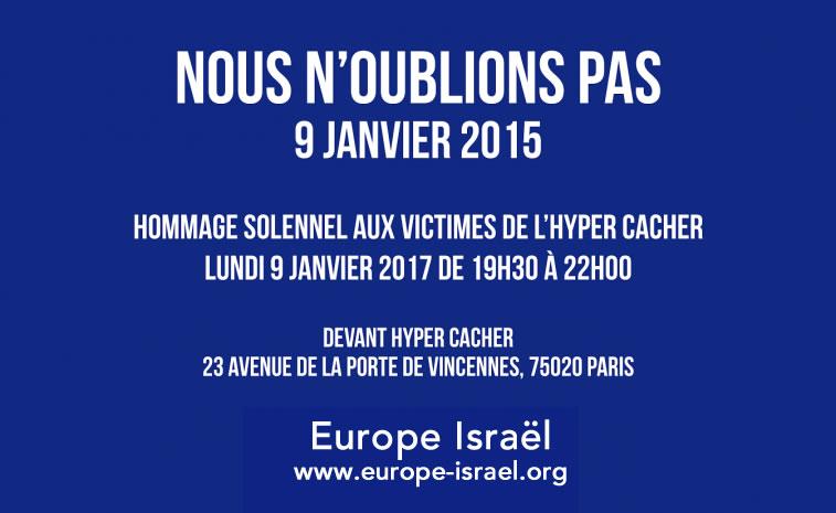 Hommage solennel aux victimes de l'Hyper Cacher lundi 9 janvier 2017 à partir de 19h30