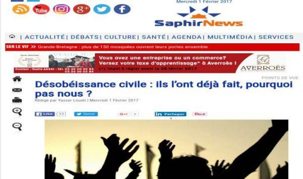 Le site musulman SaphirNews appelleà la « désobéissance civile » : « Nous avons le nombre, à quand la force ? »
