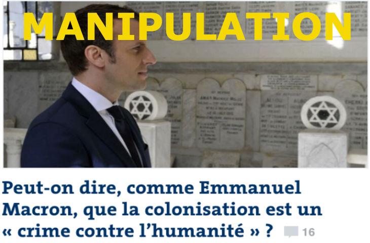 Message subliminal antisémite du Monde : Gros titre sur Macron à propos de la colonisation avec une photo dans un cimetière Juif