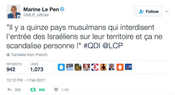 """Marine Le Pen dénonce l'hypocrisie""""Il y a quinze pays musulmans qui interdisent l'entrée des Israéliens sur leur territoire et ça ne scandalise personne!"""""""