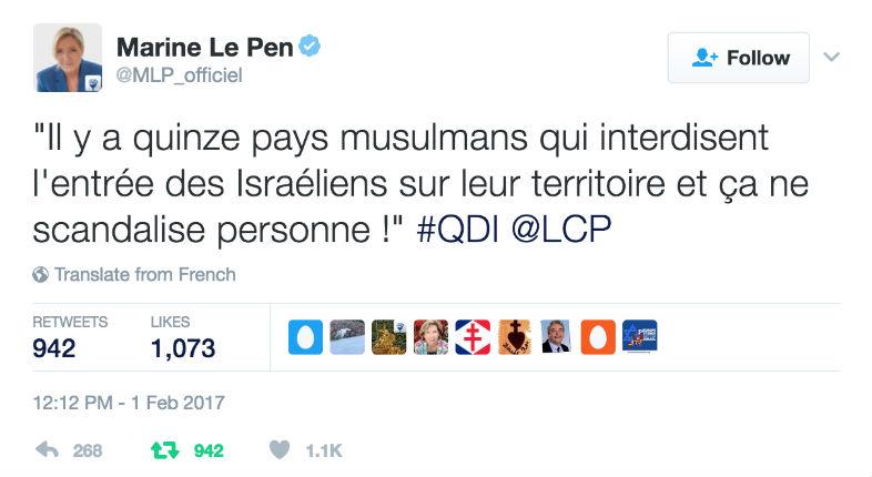 Marine Le Pen dénonce l'hypocrisie «Il y a quinze pays musulmans qui interdisent l'entrée des Israéliens sur leur territoire et ça ne scandalise personne !»