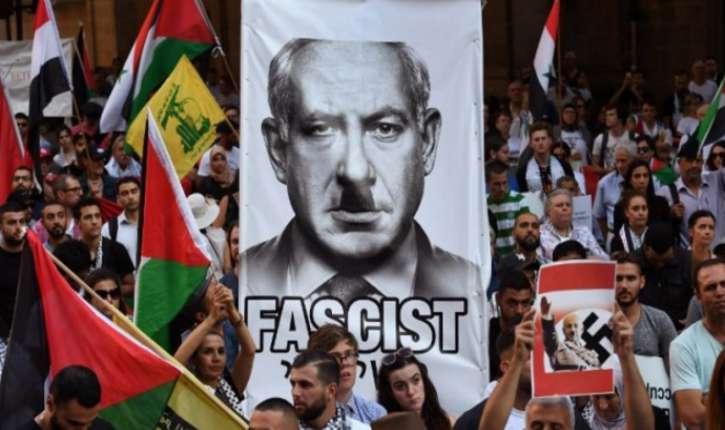 Australie : Manifestation antisémite et anti-israélienne en soutien aux terroristes palestiniens. Netanyahou grimé en Hitler